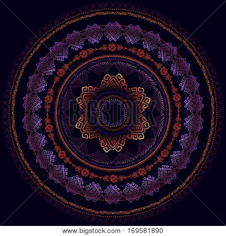 Sunny circle tribal ornament frame and black background. Night sky tribal concept. Geometric ethnic colorful tribal design. Vector illustration stock vector.