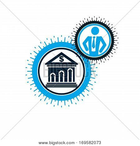 Banking conceptual logo unique vector symbol. Banking system. The banker successful businessman.