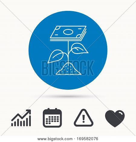 Profit icon. Money savings sign. Flower with cash money symbol. Calendar, attention sign and growth chart. Button with web icon. Vector