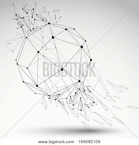 3D Vector Low Poly Grayscale Object With Black Connected Lines And Dots, Geometric Wireframe Shape W