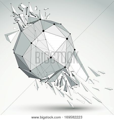 Vector Dimensional Wireframe Grayscale Object, Spherical Demolished Shape With Refractions And Wreck