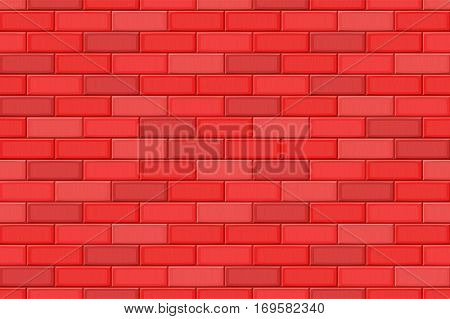 Cartoon Hand Drown Red Realistic Seamless Brick Wall Texture. Vector Illustration