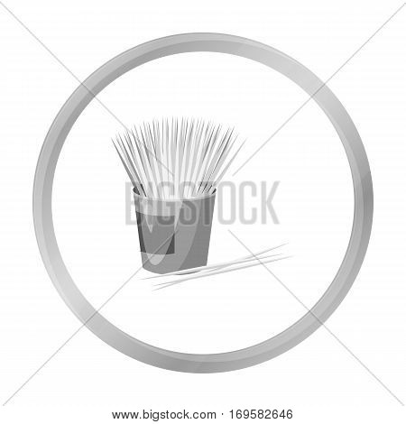 Toothpicks icon in monochrome style isolated on white background. Dental care symbol vector illustration.