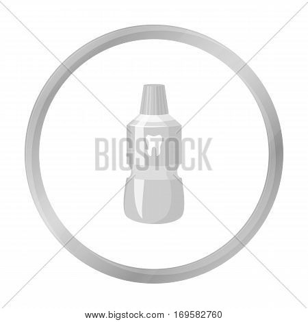 Bottle of mouthwash icon in monochrome style isolated on white background. Dental care symbol vector illustration.
