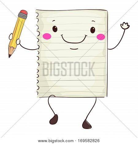 Vector Illustration of Paper Mascot Holding a Pencil