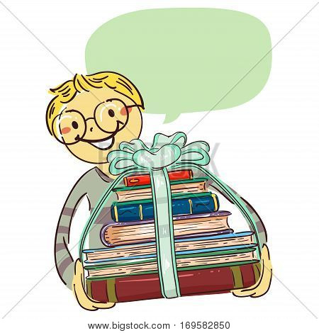 Vector Illustration of Boy carrying Stack of Book with Ribbon
