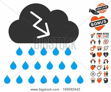 Thunderstorm Rain Cloud pictograph with bonus passion images. Vector illustration style is flat iconic elements for web design app user interfaces.