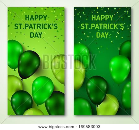 Saint Patrick's Day Vertical Banners Set with Green Shiny Balloons and Confetti. Vector illustration. Party Invitation Concept in Traditional Colors with Place for your Text.