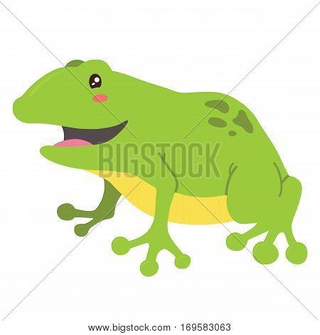 Vector illustration of cute cartoon frog character