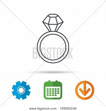 Ring with diamond icon. Jewellery sign. Calendar, cogwheel and download arrow signs. Colored flat web icons. Vector