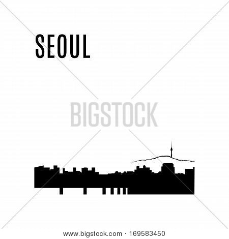Seoul City skyline black silhouette. Seoul landscape on a background of mountains. View of downtown cityscape and Seoul tower in Seoul, South Korea. Seoul panorama. Landmark vector illustration