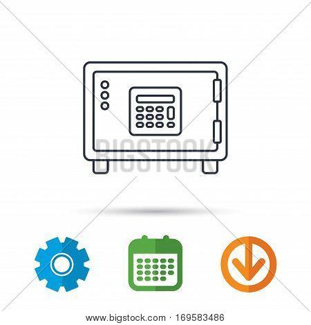 Safe icon. Money deposit sign. Combination lock symbol. Calendar, cogwheel and download arrow signs. Colored flat web icons. Vector
