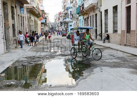 Old Houses  At The Neighborhood Of Habana Vieja In Havana
