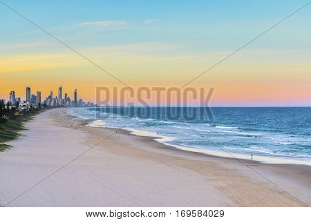 Sunset view of Miami beach and Surfers Paradise in the horizon, from Miami Headland.