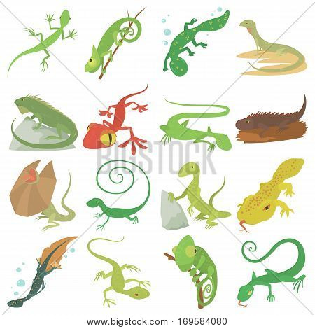 Lizard type animals icons set. Cartoon illustration of 16 lizard type animals vector icons for web