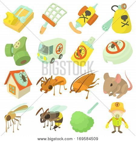 Pest control terminate icons set. Cartoon illustration of 16 pest control terminate, vector icons for web
