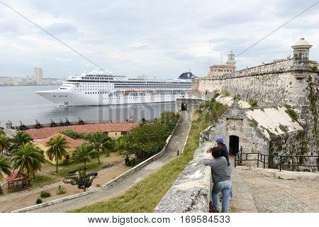 Cruiser Ship Entering The Bay Of Havana