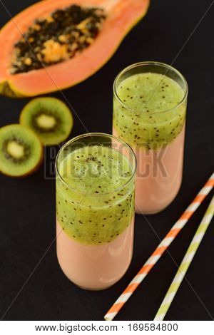 Healthy fruity papaya kiwi smoothie for breakfast