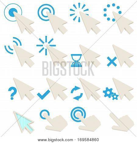 Click symbols icons set. Cartoon illustration of 16 click symbols vector icons for web