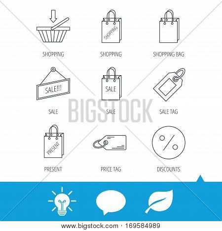 Shopping cart, gift bag and sale coupon icons. Special offer label linear signs. Discount icon. Light bulb, speech bubble and leaf web icons. Vector