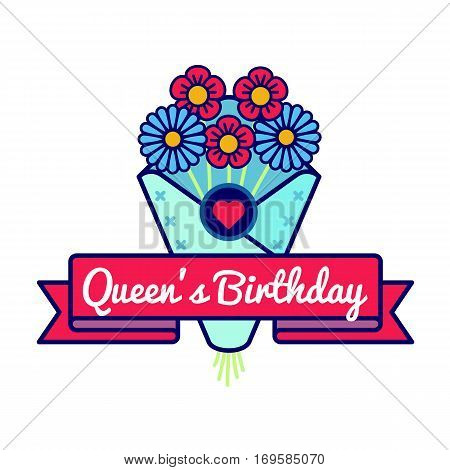 Happy Queens birthday emblem isolated vector illustration on white background. 10 june british holiday event label, greeting card decoration graphic element