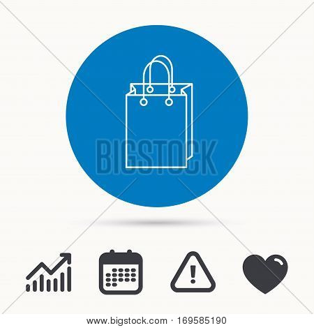 Shopping bag icon. Sale handbag sign. Calendar, attention sign and growth chart. Button with web icon. Vector