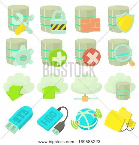 Database symbols icons set. Cartoon illustration of 16 database symbols vector icons for web