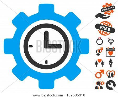 Time Setup Gear icon with bonus romantic icon set. Vector illustration style is flat iconic symbols for web design app user interfaces.