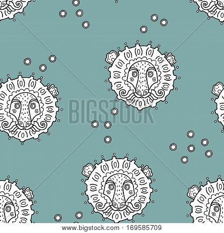 Seamless hand drawn pattern with ornate lions heads for wallpapers, web page backgrounds,textile,fabrics
