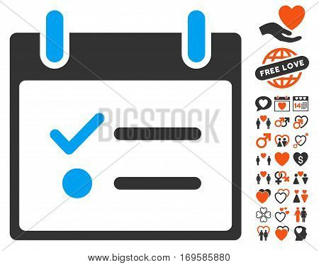 Todo List Calendar Day icon with bonus decoration symbols. Vector illustration style is flat iconic symbols for web design app user interfaces.
