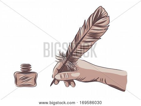 vector illustration of a hand holding feather pen. EPS