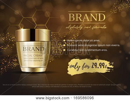 Premium Vip Cosmetic Ads, Hydrating Luxury Facial Cream For Sale. Rich Dark Brown And Gold Color Cre