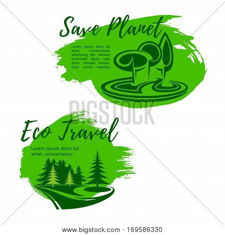 Green travel or ecology saving vector symbols. Planet environment protection and garbage pollution prevention in forest and nature. Eco friendly outdoor trip conceptual icons with trees