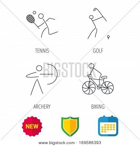 Biking, tennis and golf icons. Archery linear sign. Shield protection, calendar and new tag web icons. Vector