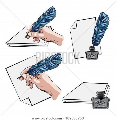 vector illustrations of hand holding feather pen aand inkpot. EPS