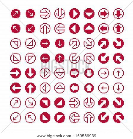 Vector flat 8 bit icons collection of simple geometric pixel symbols. Simplistic arrows set digital web signs.