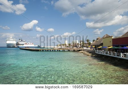 The view of transparent waters near San Miguel town on Cozumel island (Mexico).