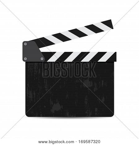 vector illustration of black film clapper isolated on white. EPS