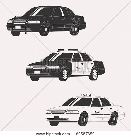 Set of different types of official vehicles. Vector car collection isolated on white background