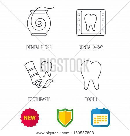 Dental floss, tooth and toothpaste icons. Dental X-ray linear sign. Shield protection, calendar and new tag web icons. Vector