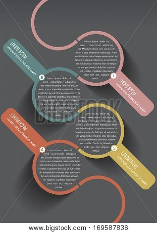 Vector abstract infographic template with 1234 steps