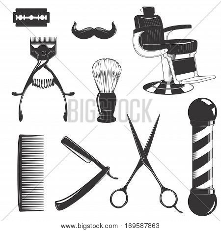 Vintage retro barbershop set with cutting equipment consists of blade, hair clipper, scissors, shaving brush swab, comb, straight razor, mustache and barber chair isolated on white background