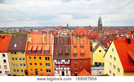 Panoramic view of Nuremberg,  Germany.