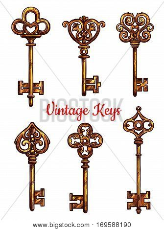 Old or vintage keys icons. Vector isolated set of sketched metal or brass bronze lock key with antique or medieval ornate bow and wards. Lever-type key heraldic symbol for coat of arms or heraldry shield