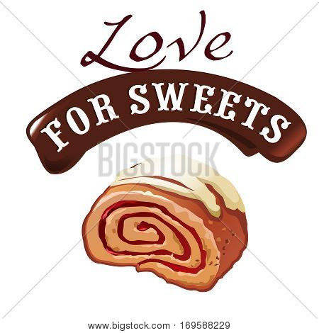 Sweet dessert vector illustration of delicious roll on a white background