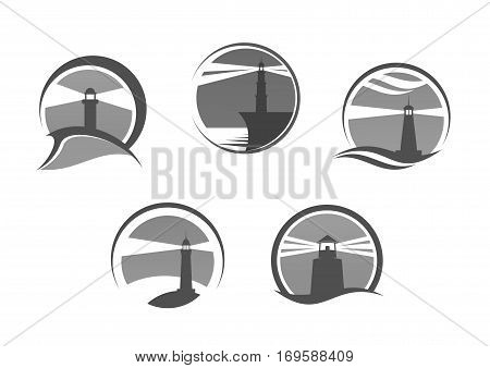 Lighthouse icons. Nautical or marine beacon on cliff rock vector isolated emblems set. Searchlight tower symbol of ship navigation with signal lights in sea or ocean storm weather