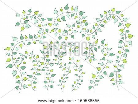 vector floral background with green clambering plants. EPS