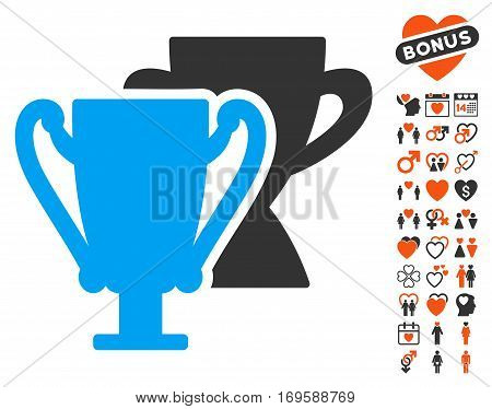 Trophy Cups pictograph with bonus decorative pictograms. Vector illustration style is flat iconic elements for web design app user interfaces.