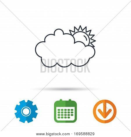 Sunny day icon. Summer sign. Overcast weather symbol. Calendar, cogwheel and download arrow signs. Colored flat web icons. Vector