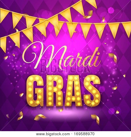 Vector Typographical Illustration Of Mardi Gras Beauty Purple Background With Rhombus Texture And Go